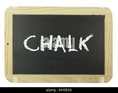 Chalk board with the label chalk Symbol for school learning and instruction - Stock Photo