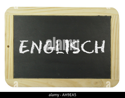 Chalk board with the label English Symbol for school learning and instruction - Stock Photo