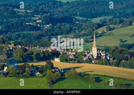 An evening view of the Cotswold village of Painswick viewed from Edge Common, Gloucestershire - Stock Photo