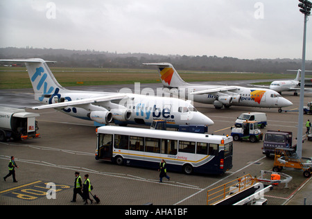 Flybe BAc 146 Aircraft on the apron at Southampton Airport Hampshire England UK - Stock Photo