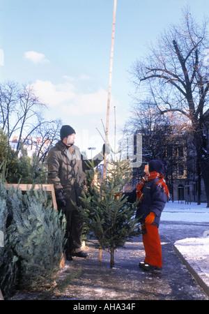 BUYING A CHRISTMAS TREE PRAGUE CZECH REPUBLIC  - Stock Photo