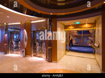Beautiful work of marble and wood adorns the cruise ship Rhapsody of The Seas - Stock Photo