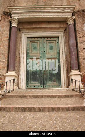 Bronze doorway entrance to the Temple of Romulus at the Roman Forum Rome Italy - Stock Photo