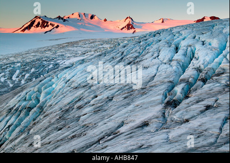 Exit Glacier and the Harding Icefield at sunrise Kenai Fjords National Park Alaska - Stock Photo