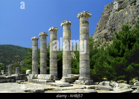 Ancient greek temple of Aphrodite Priene Turkey - Stock Photo