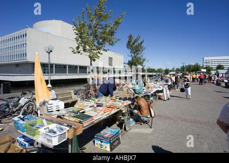Flea Market Tables In Oulu Finland   Stock Photo
