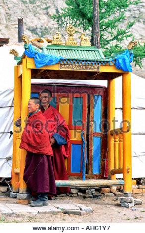 Mongolia Arhangay province Tsetserleg monastery and yurt - Stock Photo