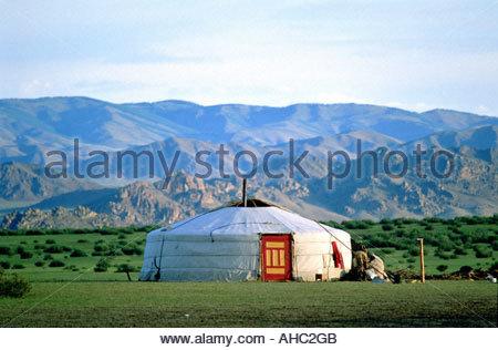 Mongolia Arhangay province Tsetserleg nomadic camp - Stock Photo