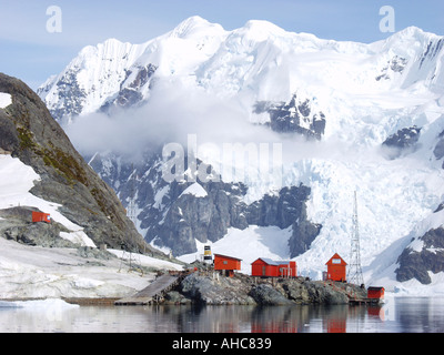 The Almirante Brown research station base in Paradise Harbor Antarctica The Almirante Brown base belongs to Argentina - Stock Photo