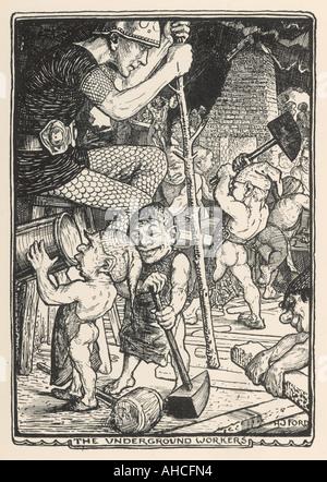 Dwarfs Underground Work - Stock Photo