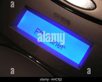 Digital Audio Broadcasting DAB radio display include an FM tuner - Stock Photo