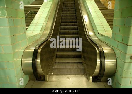 escalotors in Berlin Underground Station,landscape  image in colour - Stock Photo