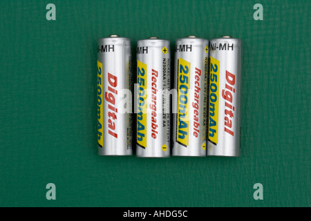 Four high capacity 2500mA hr rechargeable AA batteries UK - Stock Photo