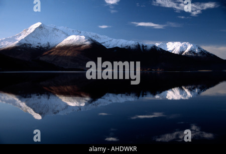 PICTURE CREDIT DOUG BLANE snowy mountains at Glen Coe Highlands Scotland United Kingdom of Great Britain - Stock Photo