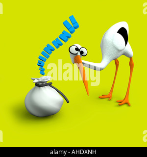 A stork with a baby in a bag - Stock Photo