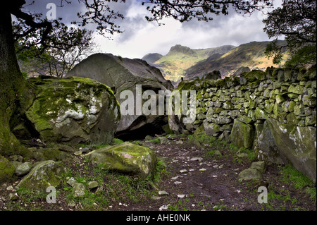 Copt Howe Langdale boulders in Great Langdale with the Langdale Pikes in the distance. Lake District National Park, UK