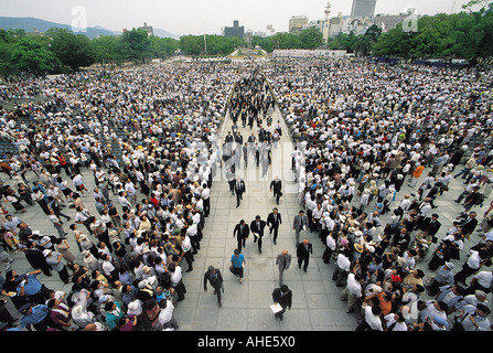 Memorial day of atomic bomb explosion in Peace Park in Hiroshima, Japan. - Stock Photo