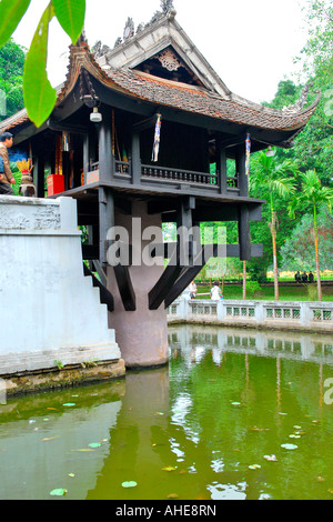 Vietnam , Hanoi , exterior view of the One Pillar Pagoda originally built in 1049 by Emperor Ly Thai Tong - Stock Photo