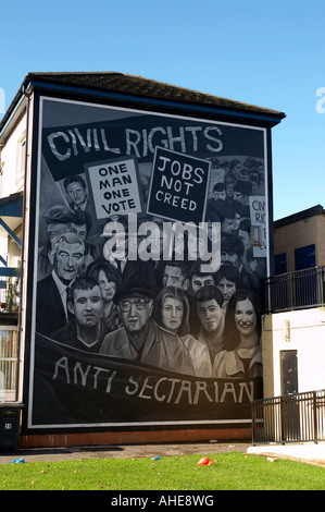 Civil Rights The Beginning mural as part of the peoples gallery murals in Rossville Street of the bogside area of - Stock Photo