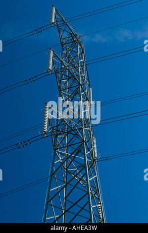 High voltage AC transmission pylon in urban residential area Worcester Park Kingston upon Thames Surrey England - Stock Photo