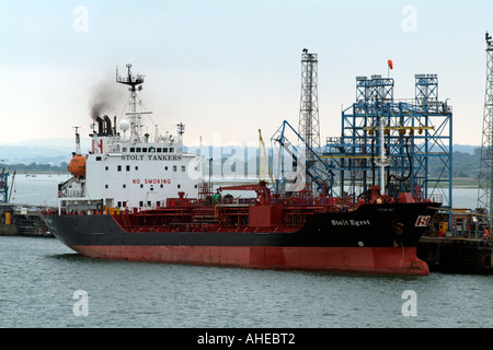 MV Stolt Egret alonside Fawley oil Terminal on Southampton Water southern England UK - Stock Photo