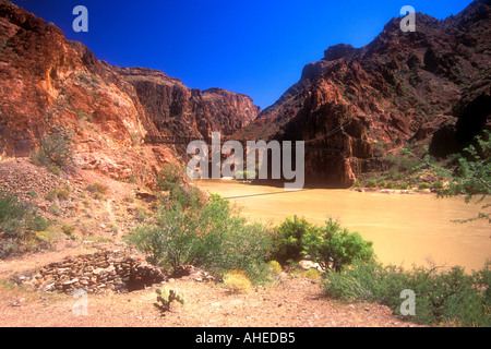 'Grand Canyon' 'Kaibab Trail' descent of 'Grand Canyon National Park' with 'Colorado River' Arizona usa u s a america - Stock Photo