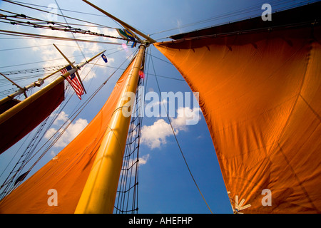 Sails on a tall ship - Stock Photo