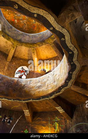Image of Interior view looking up the watchtower at Desert View from the kiva room Grand Canyon National Park - Stock Photo