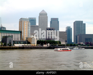 Canary Wharf And The Tower Taken From Rotherhythe London September 2003 - Stock Photo