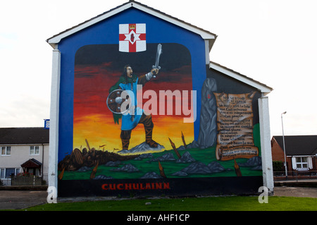 This mural depicts the myth the famous ulster warrior Cuchulain who defended the house of Ulster against other four - Stock Photo