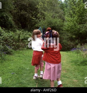 School children on a nature walk at Gelli Aur Country Park Carmarthenshire Wales UK KATHY DEWITT - Stock Photo