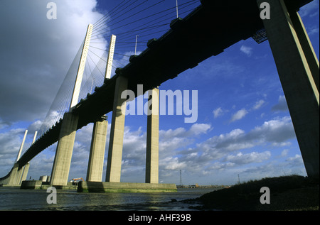 M25 Queen Elizabeth II Bridge near Dartford United Kingdom - Stock Photo