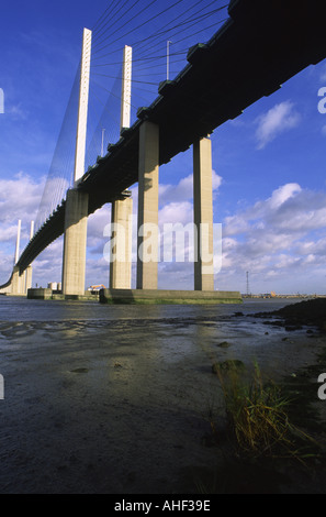 M25 Queen Elizabeth II Bridge near Dartford UK - Stock Photo