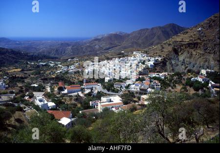 Mountain Village of Aperi Greek Island of Karpathos Greece EU European Union Europe - Stock Photo