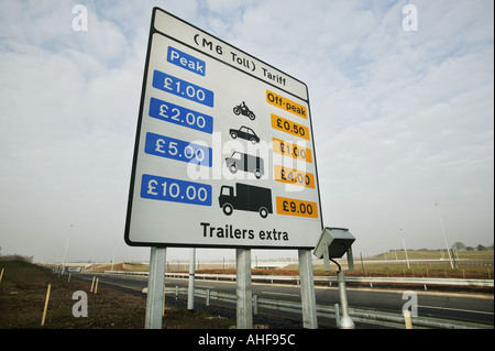A sign showing tariffs on the Midland Expressway in the West Midlands UK - Stock Photo