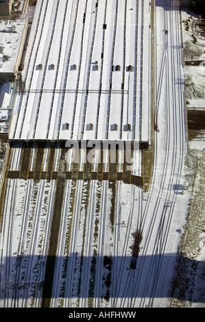 aerial view above tracks at Union Station Toronto Ontario Canada railway - Stock Photo