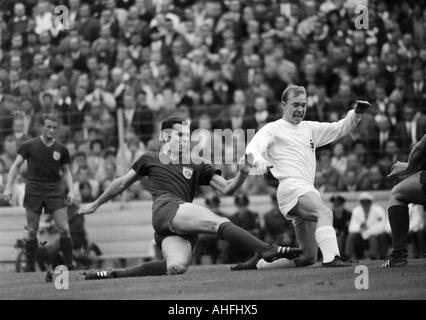 football, Bundesliga, 1966/1967, Stadium at the Gruenwalder Street, FC Bayern Munich versus Borussia Moenchengladbach - Stock Photo