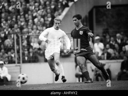 football, Bundesliga, 1966/1967, Stadium at the Gruenwalder Street, FC Bayern Munich versus Borussia Moenchengladbach - Stock Photo
