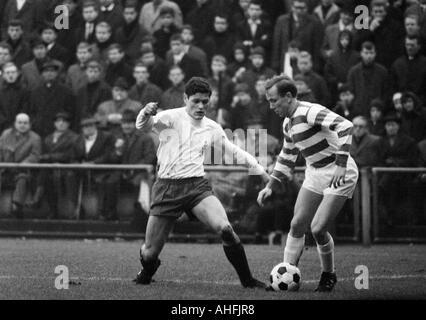 football, Bundesliga, 1966/1967, Boekelberg Stadium, Borussia Moenchengladbach versus MSV Duisburg 3:3, scene of - Stock Photo
