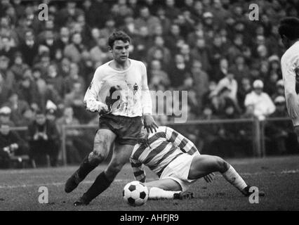 football, Bundesliga, 1966/1967, Boekelberg Stadium, Borussia Moenchengladbach versus MSV Duisburg 3:3, scene of - Stock Photo