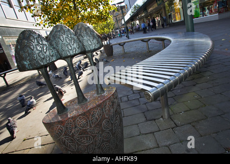 Modern public seating in Frenchgate street in Doncaster, South Yorkshire, England, UK - Stock Photo