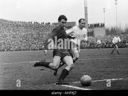 football, Bundesliga, 1966/1967, Boekelberg Stadium, Borussia Moenchengladbach versus Hamburger SV 4:2, scene of - Stock Photo