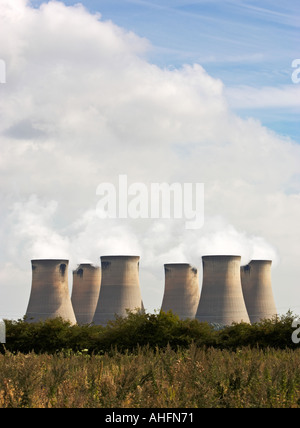 Cooling towers at Drax power station near Selby North Yorkshire England UK - Stock Photo