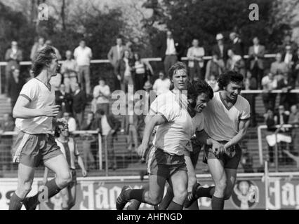 football, Bundesliga, 1971/1972, Niederrhein Stadium in Oberhausen, Rot-Weiss Oberhausen versus Hertha BSC Berlin - Stock Photo