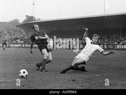 football, Regionalliga West, 1967/1968, ETB Schwarz-Weiss Essen versus Bayer Leverkusen 3:3, Stadium am Uhlenkrug - Stock Photo