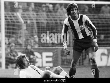football, Bundesliga, 1972/1973, Boekelberg Stadium, Borussia Moenchengladbach versus Wuppertaler SV 2:1, scene - Stock Photo