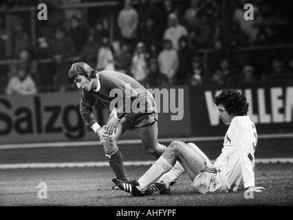football, Bundesliga, 1973/1974, FC Schalke 04 versus 1. FC Cologne 2:2, Park Stadium in Gelsenkirchen, scene of - Stock Photo