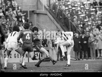 football, Bundesliga, 1973/1974, Boekelberg Stadium, Borussia Moenchengladbach versus MSV Duisburg 3:2, scene of - Stock Photo