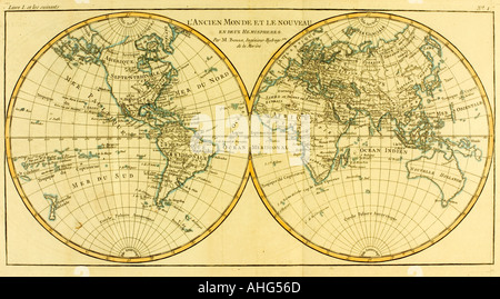 Map of World circa 1760.  From Atlas de Toutes Les Parties Connues du Globe Terrestre by Cartographer Rigobert Bonne. - Stock Photo