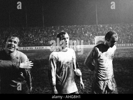football, Bundesliga, 1969/1970, Stadium at the Hafenstrasse in Essen, Rot-Weiss Essen versus Borussia Moenchengladbach - Stock Photo
